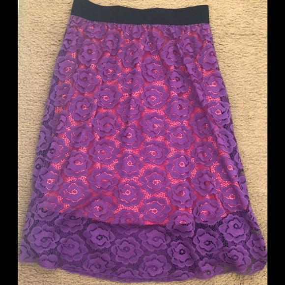 LuLaRoe Purple Floral Lace Lola Midi Skirt